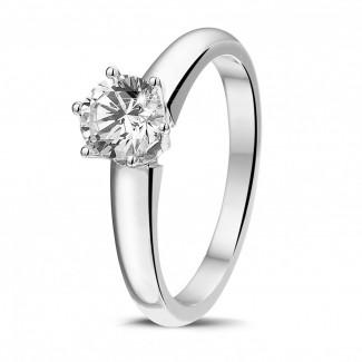 - 0.75克拉6爪铂金单钻戒指