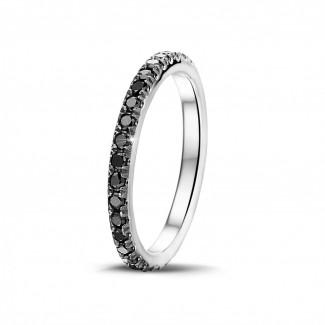 男士戒指 - 0.55克拉白金黑钻婚戒