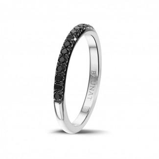 男士珠宝 - 0.35克拉白金黑钻婚戒(半环镶钻)