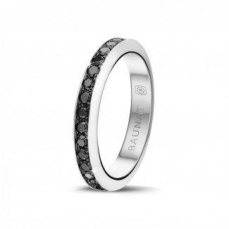 钻石结婚戒指 - 0.68 克拉白金密镶黑钻戒指