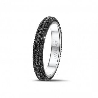 钻石戒指 - 0.85克拉白金密镶黑钻戒指