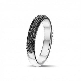 白金钻石结婚戒指 - 0.65克拉白金密镶黑钻戒指 (半环镶钻)