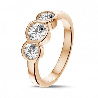玫瑰金钻石求婚戒指 - 爱情三部曲0.95克拉三钻玫瑰金戒指