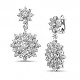 白金钻石耳环 - 花之恋3.65克拉白金钻石耳环