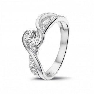 铂金钻石求婚戒指 - 0.50克拉铂金单钻戒指