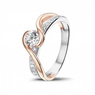 - 0.50克拉白金与玫瑰金单钻戒指