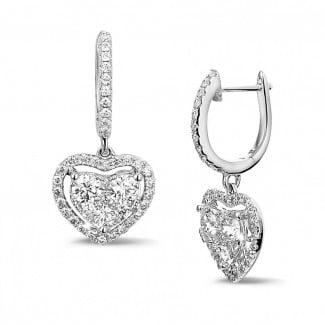 新品 - 1.35克拉白金钻石心形耳环