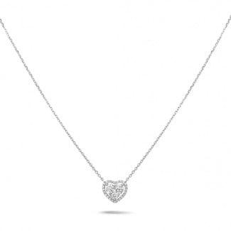 新品 - 0.65克拉白金钻石心形项链
