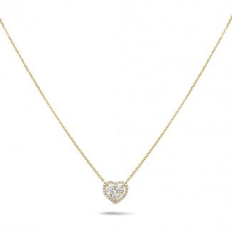 黄金钻石项链 - 0.65克拉黄金钻石心形项链