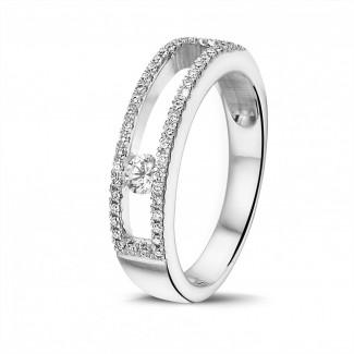 钻石戒指 - 0.25克拉白金滑钻戒指