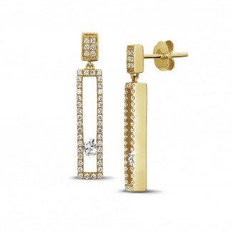 黄金钻石耳环 - 0.55克拉黄金滑钻耳环