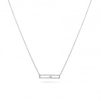 钻石项链 - 0.30克拉白金滑钻项链