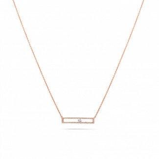 玫瑰金钻石项链 - 0.30克拉玫瑰金滑钻项链