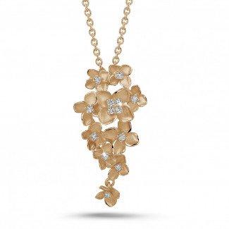 玫瑰金钻石项链 - 设计系列0.35克拉花之恋玫瑰金钻石吊坠