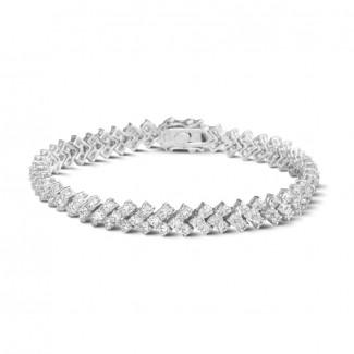 高定珠宝 - 9.50克拉白金钻石编织纹手链