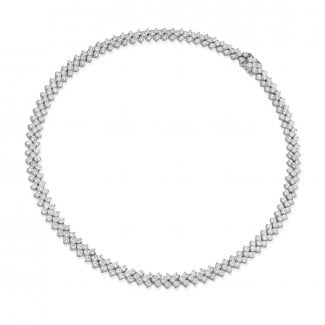 钻石项链 - 19.50 克拉白金钻石编织纹项链