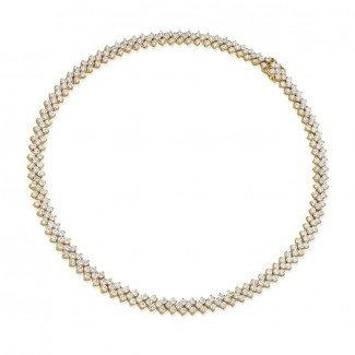 黄金钻石项链 - 19.50 克拉黄金钻石编织纹项链