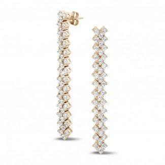 玫瑰金钻石耳环 - 5.80 克拉玫瑰金钻石编织纹耳钉