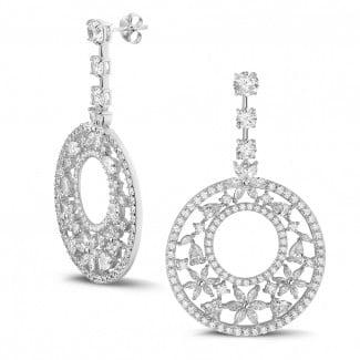 高定珠宝 - 12.00 克拉白金花式切工钻石耳钉