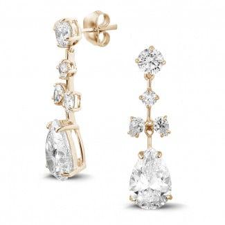 玫瑰金钻石耳环 - 7.00 克拉玫瑰金圆形与梨形钻石耳钉