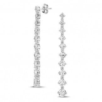 高定珠宝 - 5.50 克拉白金钻石渐变耳钉