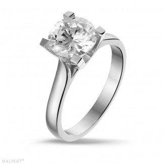 - 2.00克拉白金戒指,镶有品质卓越的圆钻(D-IF-EX)