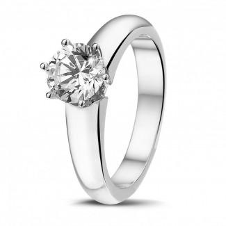 高定珠宝 - 1.00 克拉6爪白金戒指,镶有品质卓越的圆钻(D-IF-EX)