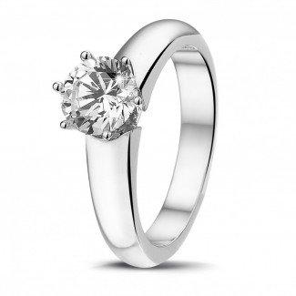 - 1.00 克拉6爪白金戒指,镶有品质卓越的圆钻(D-IF-EX)