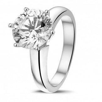- 3.00克拉6爪白金戒指,镶有品质卓越的圆钻(D-IF-EX)