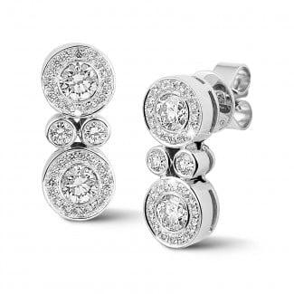 钻石耳环 - 1.00克拉白金钻石耳环