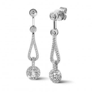 钻石耳环 - 1.20克拉白金钻石耳环
