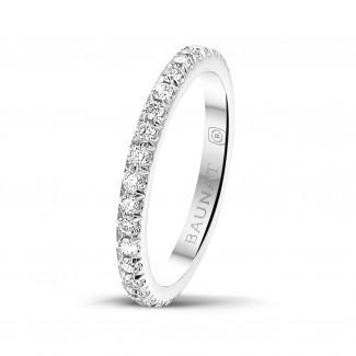 钻石结婚戒指 - 0.55克拉白金镶钻婚戒(满镶)