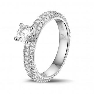 钻石求婚戒指 - 0.50克拉白金单钻戒指 - 戒托群镶小钻(满镶)