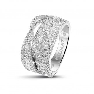 新品 - 1.90克拉白金圆形与公主方钻石戒指