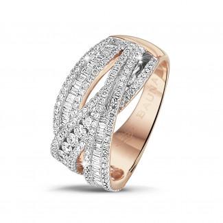 钻石戒指 - 1.35克拉玫瑰金圆形与长方形钻石戒指