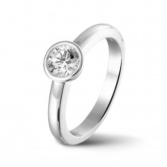新品 - 0.50克拉圆形白金单钻戒指