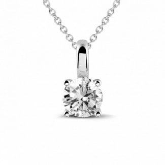 钻石吊坠 - 0.50克拉四爪白金圆形钻石吊坠