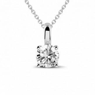 钻石项链 - 0.50克拉四爪白金圆形钻石吊坠