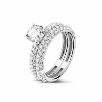 钻石求婚戒指 - 0.90克拉白金单钻戒指 - 戒托群镶小钻订婚/结婚对戒