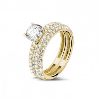 钻石求婚戒指 - 0.90克拉黄金单钻戒指 - 戒托群镶小钻订婚/结婚对戒