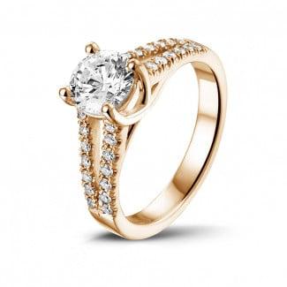 钻石求婚戒指 - 0.90克拉玫瑰金单钻戒指 - 戒托群镶小钻