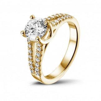 钻石求婚戒指 - 0.90克拉黄金单钻戒指 - 戒托群镶小钻