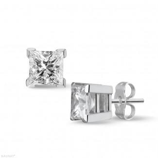 钻石耳环 - 2.00克拉白金耳钉,镶有品质上乘的公主方钻(D-IF-EX)