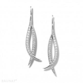圆形钻石耳环 - 设计系列0.76克拉白金钻石耳环