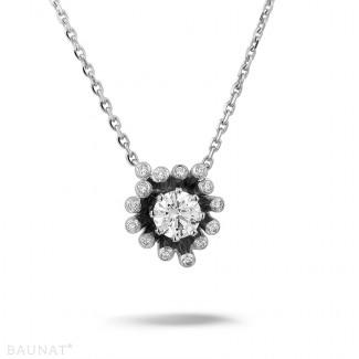 钻石项链 - 设计系列 0.75克拉白金钻石吊坠项链