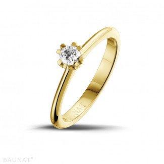 - 设计系列 0.25克拉八爪黄金钻石戒指