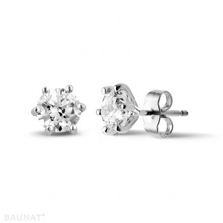 钻石耳环 - 2.00克拉6爪白金钻石耳钉