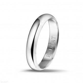 白金钻石结婚戒指 - 男士白金戒指宽度为4.00毫米