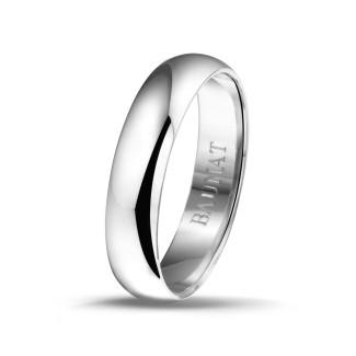 钻石结婚戒指 - 男士白金戒指宽度为5.00毫米