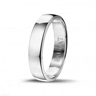 钻石结婚戒指 - 男士白金戒指 宽度为5.00 毫米